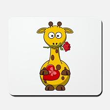 Valentine Giraffe Cartoon Mousepad