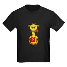 Valentine Giraffe Cartoon T-Shirt