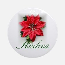 Poinsettia Andrea Ornament (Round)