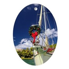 Sailboat Wreath Ornament (Oval)