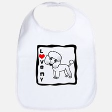 I Love My Poodle White Coat Bib