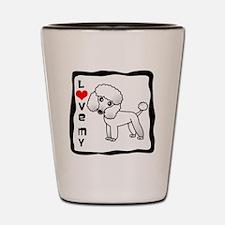 I Love My Poodle White Coat Shot Glass
