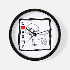 I Love My Poodle White Coat Wall Clock