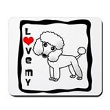 White poodle Mouse Pads