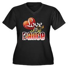 Love Dance Women's Plus Size V-Neck Dark T-Shirt