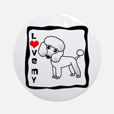 I Love My Poodle White Coat Ornament (Round)