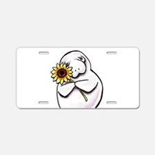 Sunny Manatee Aluminum License Plate