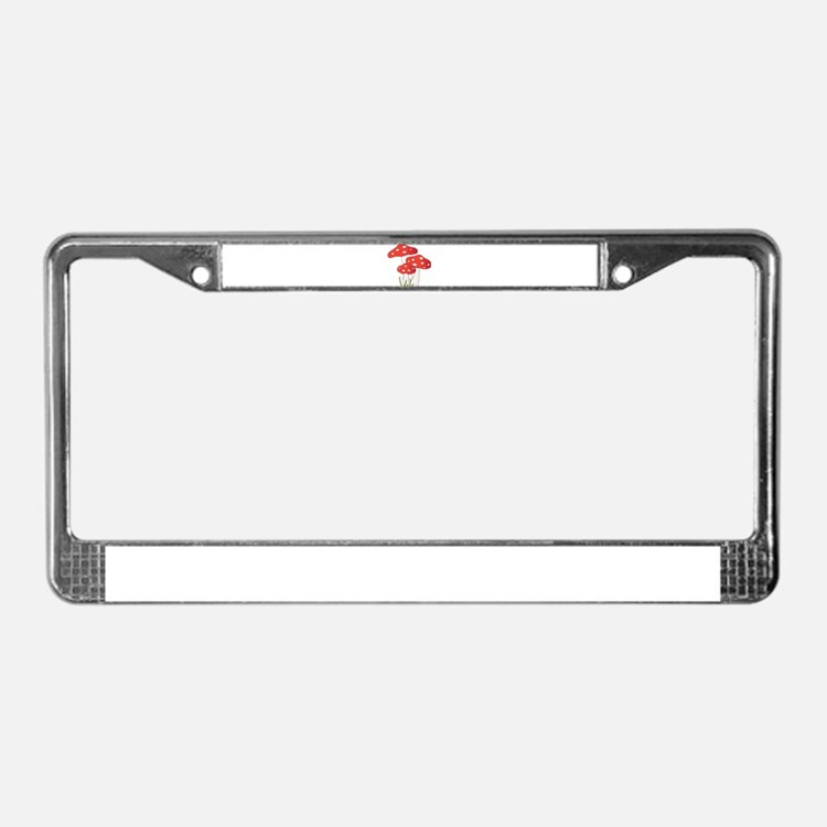Polka Dot Mushrooms License Plate Frame