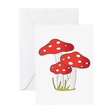 Polka Dot Mushrooms Greeting Cards