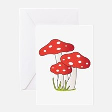 Polka Dot Mushrooms Greeting Cards