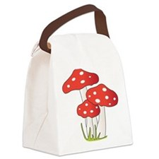 Polka Dot Mushrooms Canvas Lunch Bag