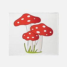 Polka Dot Mushrooms Throw Blanket