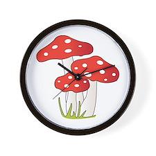 Polka Dot Mushrooms Wall Clock