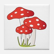 Polka Dot Mushrooms Tile Coaster