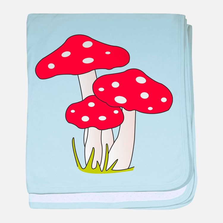 Polka Dot Mushrooms baby blanket