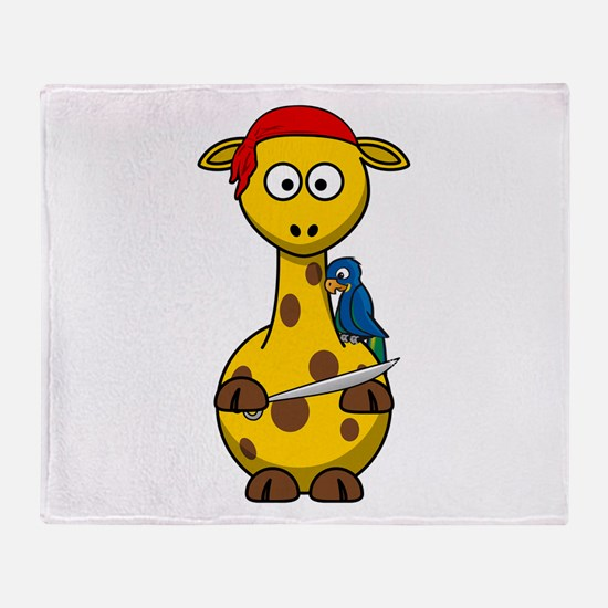 Pirate Giraffe Cartoon Throw Blanket