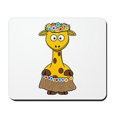 Hawaiian Giraffe Cartoon Mousepad
