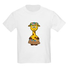 Hawaiian Giraffe Cartoon T-Shirt