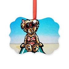 Yorkie Beachside Ornament