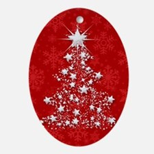 Sparkling Red Christmas Tree Ornament (Oval)