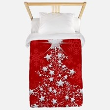 Sparkling Red Christmas Tree Twin Duvet