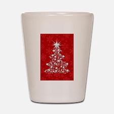 Sparkling Red Christmas Tree Shot Glass
