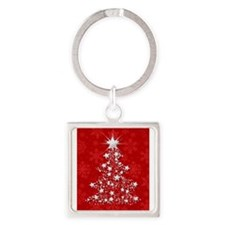 Sparkling Red Christmas Tree Keychains