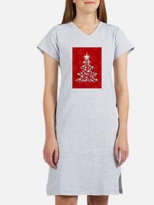 Sparkling Red Christmas Tree Women's Nightshirt