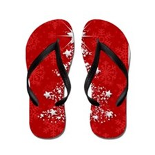 Sparkling Red Christmas Tree Flip Flops