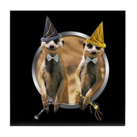 Meerkat New Year Tile Coaster