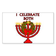 Christmas AND Hanukkah Rectangle Decal