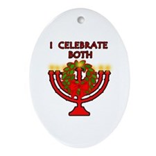 Christmas AND Hanukkah Oval Ornament