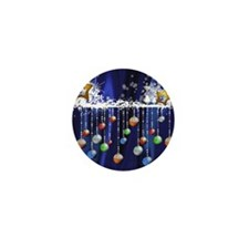 Christmas Baubles on Blue Mini Button