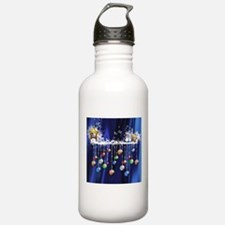 Christmas Baubles on Blue Water Bottle