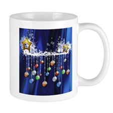 Christmas Baubles on Blue Mugs