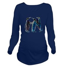 Neon Penguins Long Sleeve Maternity T-Shirt