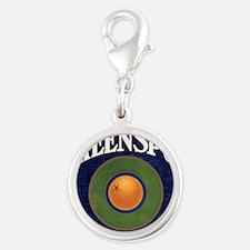 Retro Oranges Silver Round Charm