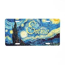 Emma Starry Night Aluminum License Plate