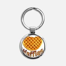 Waffles Round Keychain