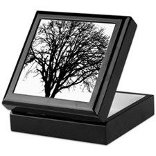 Black White Tree Silhouette Keepsake Box