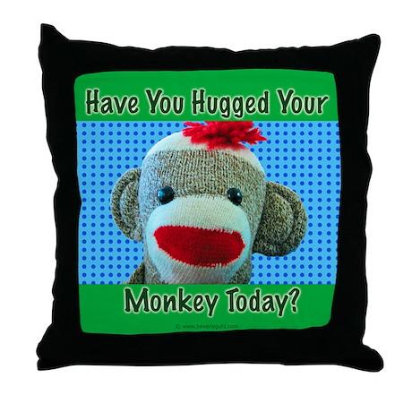 Hugged Monkey? Throw Pillow