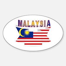 Malaysia flag ribbon Oval Decal