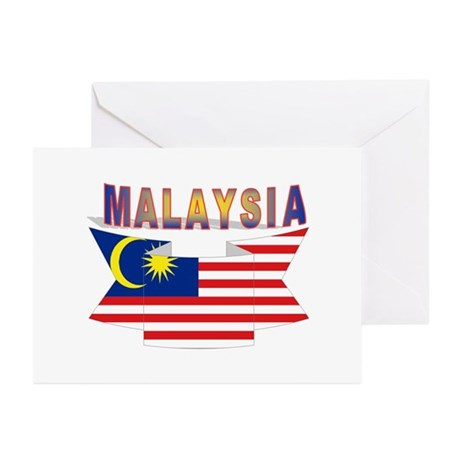 Malaysia flag ribbon Greeting Cards (Pk of 10)