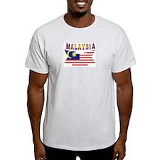 Malaysia flag ribbon Ash Grey T-Shirt
