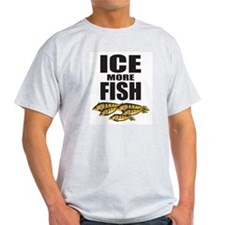 ICE MORE FISH ICE FISHING Ash Grey T-Shirt
