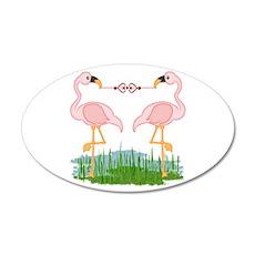 Flamingo Love 35x21 Oval Wall Decal