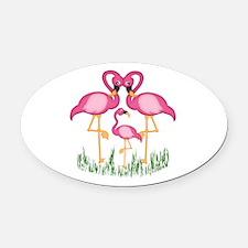 So Sweet Flamingos Oval Car Magnet