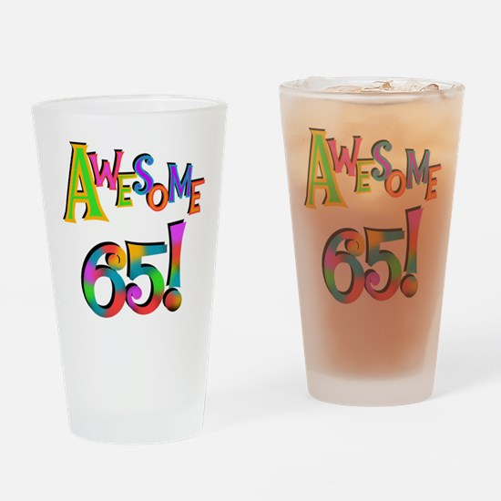Awesome 65 Birthday Drinking Glass