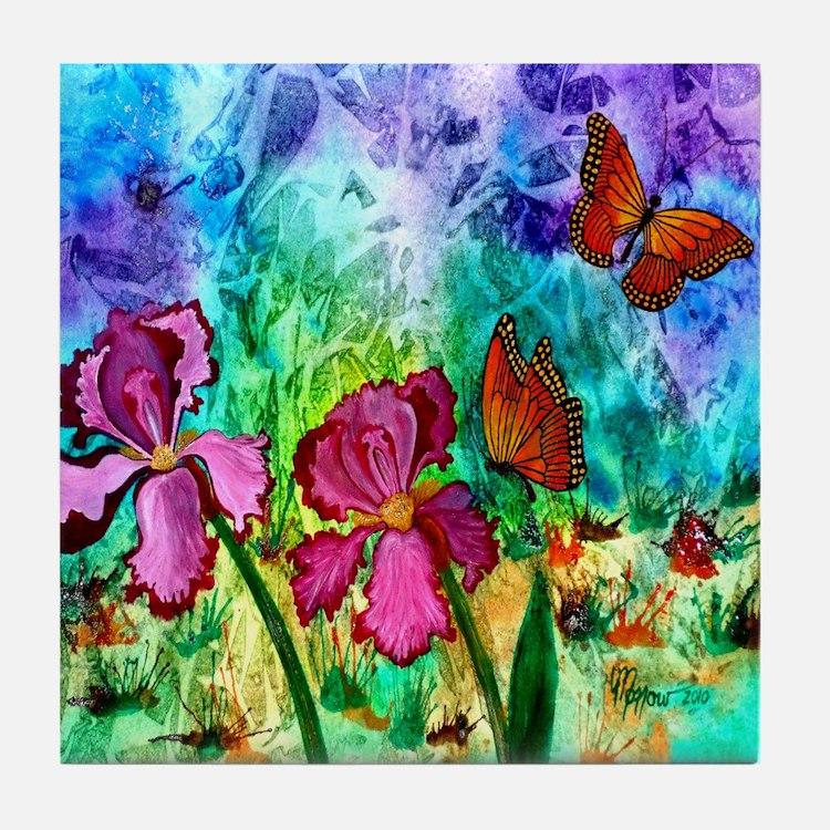 """Pink Iris 5.25"""" Tile Coaster"""