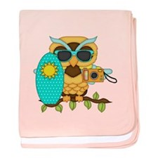 Surfing Boy Owl baby blanket